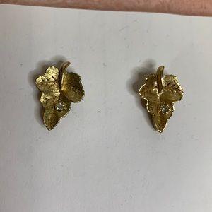 Vintage Goldtone & Rhinestone Leaf Earrings